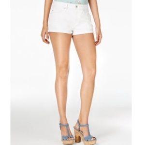 American Rag white denim roll up shorts